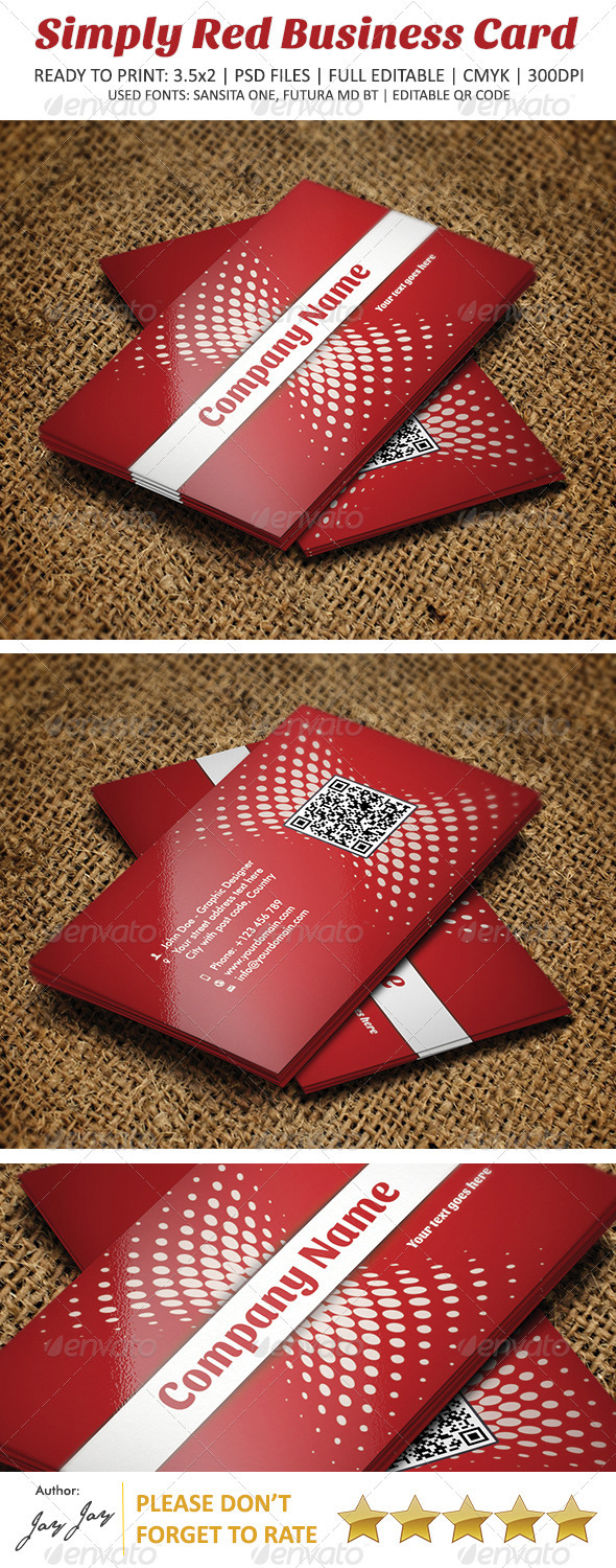 Simply Red Business Card V1 - Corporate Business Cards
