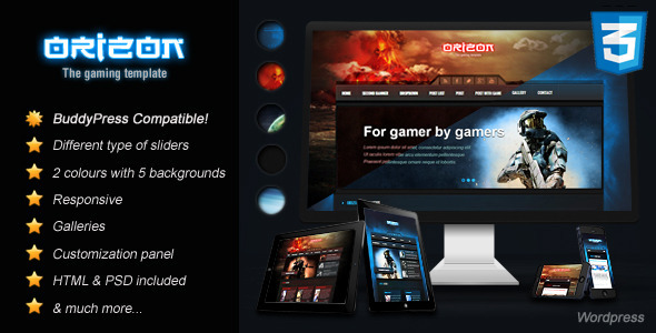 Orizon - The Gaming Template WP version - Technology WordPress