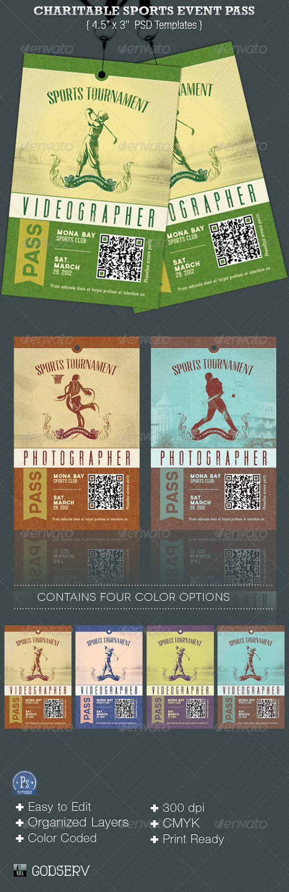 GraphicRiver Charitable Sports Event Pass Template 3864774