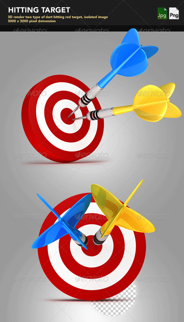 Dart Hitting Target - Objects 3D Renders