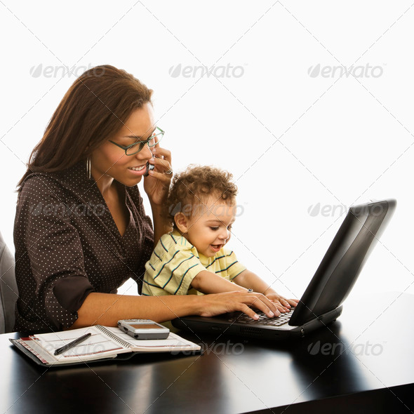 Business mom with baby - Stock Photo - Images