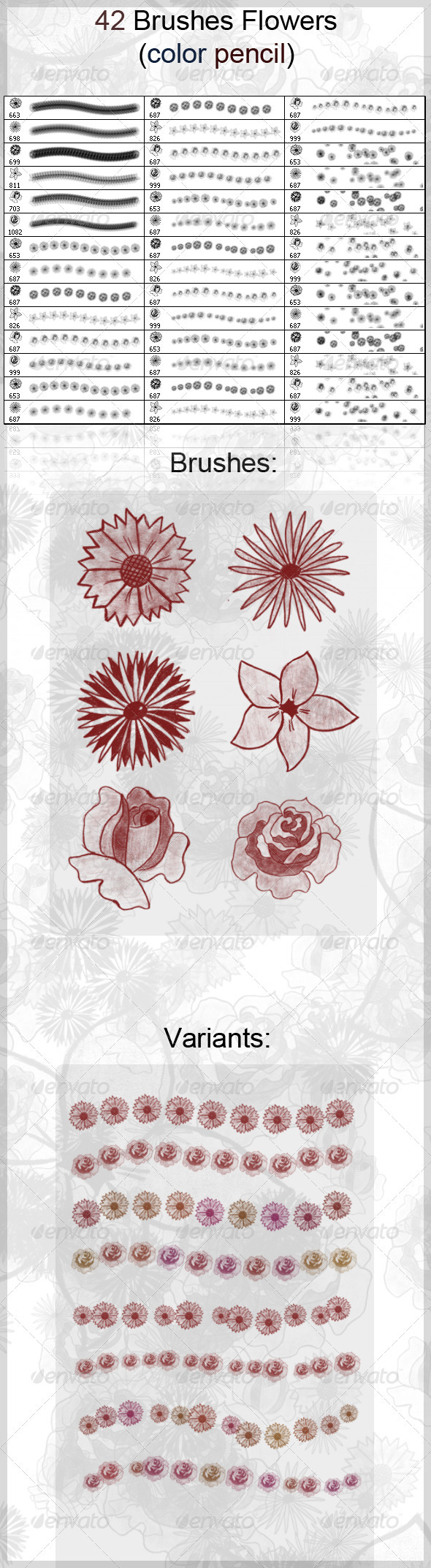 GraphicRiver 42 Brushes Flowers Color Pencil 3942663