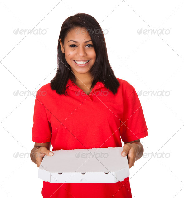PhotoDune Young Woman With A Whole Pizza 3944659
