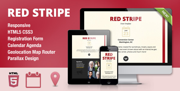 Red Stripe Responsive Parallax Event Site Template - Creative Site Templates