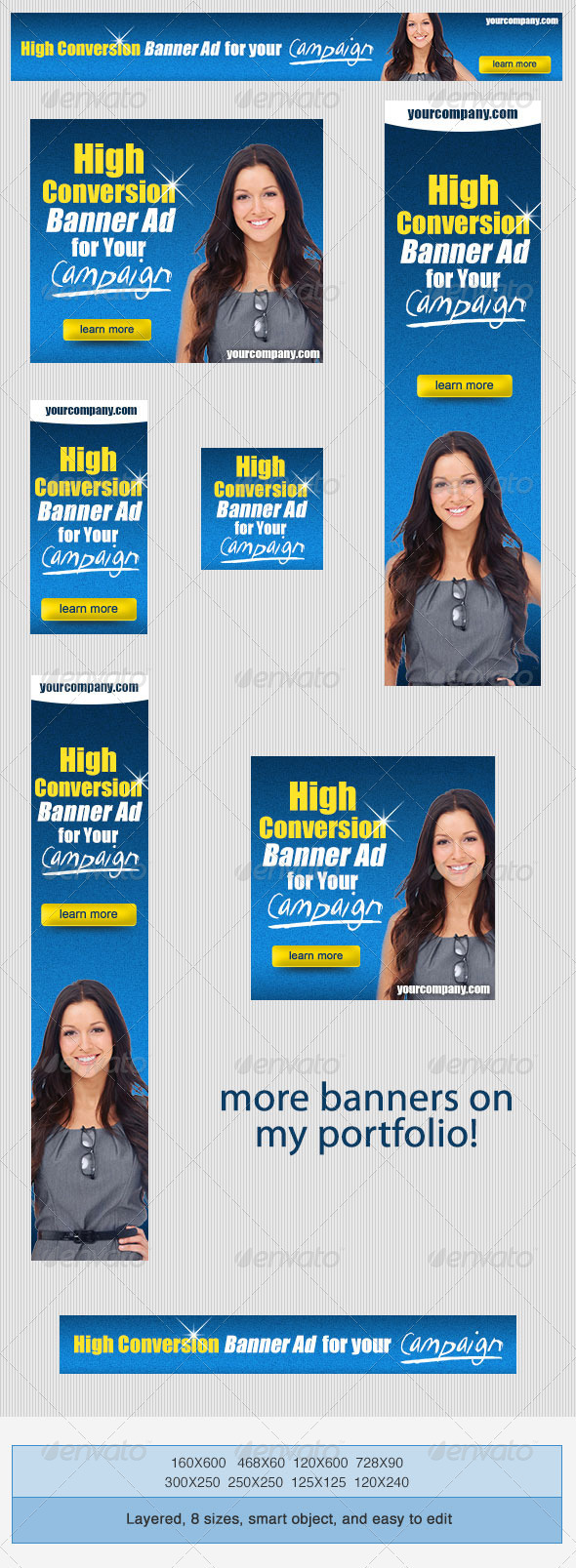 GraphicRiver High Conversion Banner Ad PSD Template 3945766