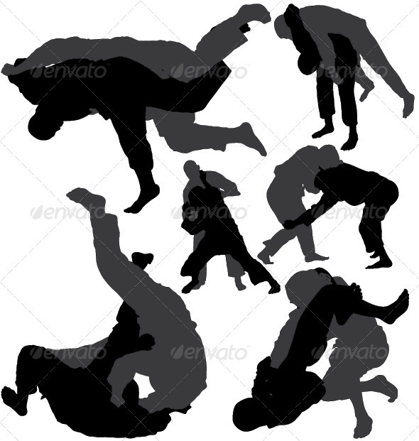 GraphicRiver Jiu-jitsu and judo wrestlers vector silhouettes 3946260