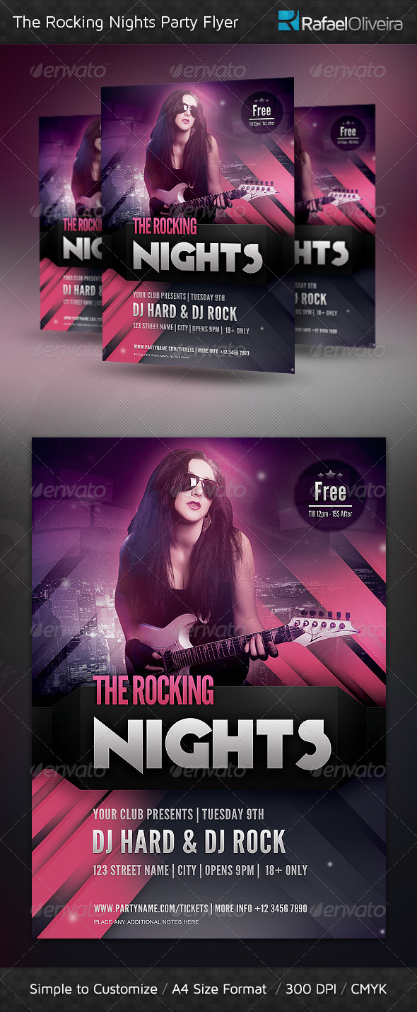 The Rocking Nights Party Flyer - Clubs & Parties Events