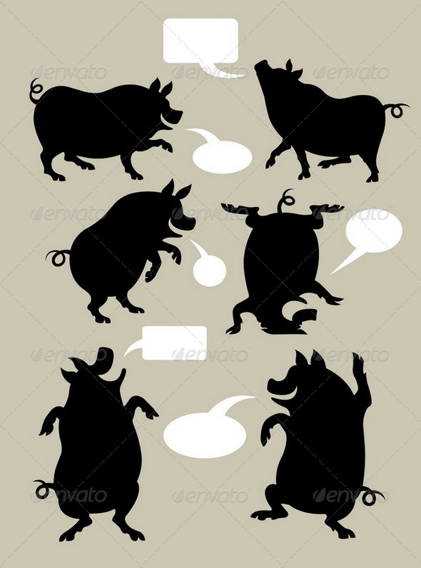 GraphicRiver Pig Dancing Silhouettes Set 3947142