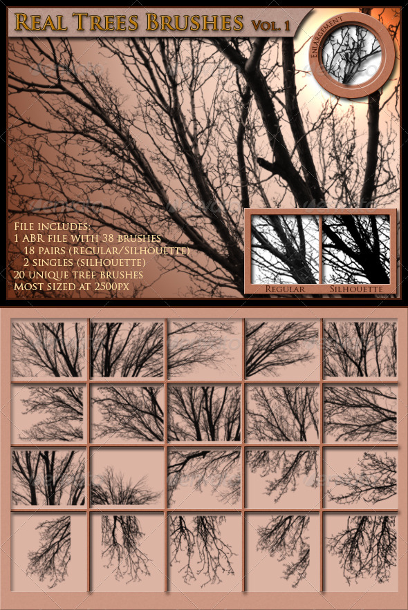 GraphicRiver Real Trees Brushes Volume 1 3947869