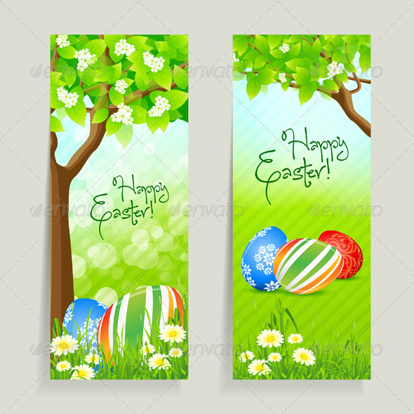 GraphicRiver Set of Easter Cards with Grass and Tree 3949044