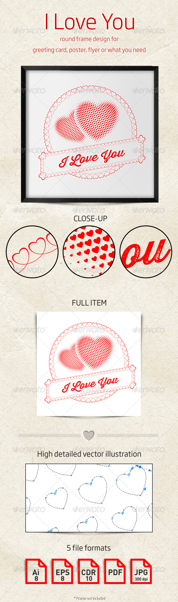 GraphicRiver I Love You Round Frame Design 3952381