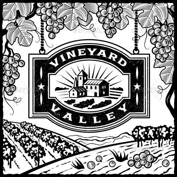 GraphicRiver Vineyard Valley Black And White 3952402