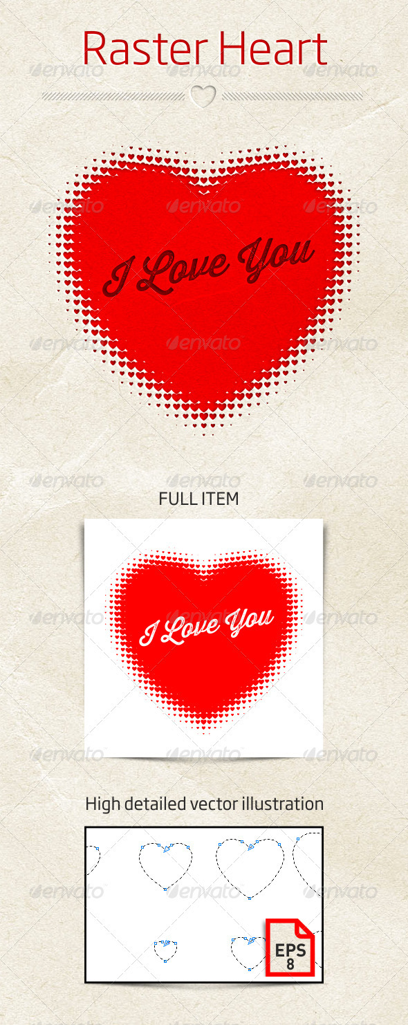 GraphicRiver Raster Heart Vector Illustration 3952461