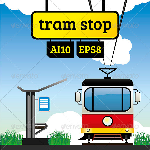 GraphicRiver Tram Stop 3954926