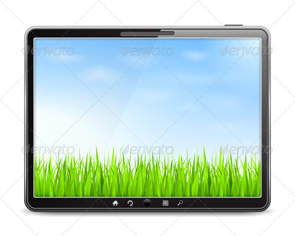 GraphicRiver Tablet PC with Green Grass and Blue Sky 3956373