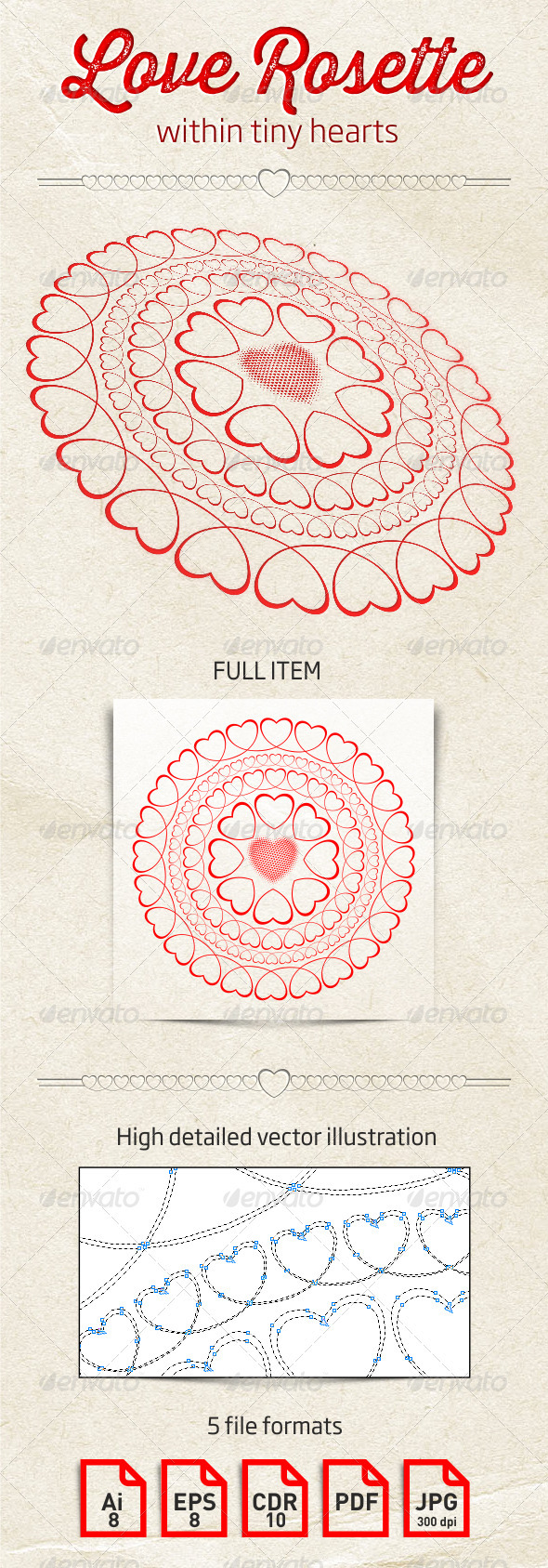 GraphicRiver Love Rosette Within Tiny Hearts 3957727