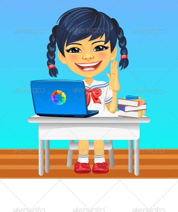 Vector happy smiling Asian schoolgirl - People Characters