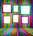 Retro colorful wood room with multicolored photo frames - PhotoDune Item for Sale
