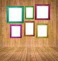 Abstract interior of parquet room with retro frames - PhotoDune Item for Sale