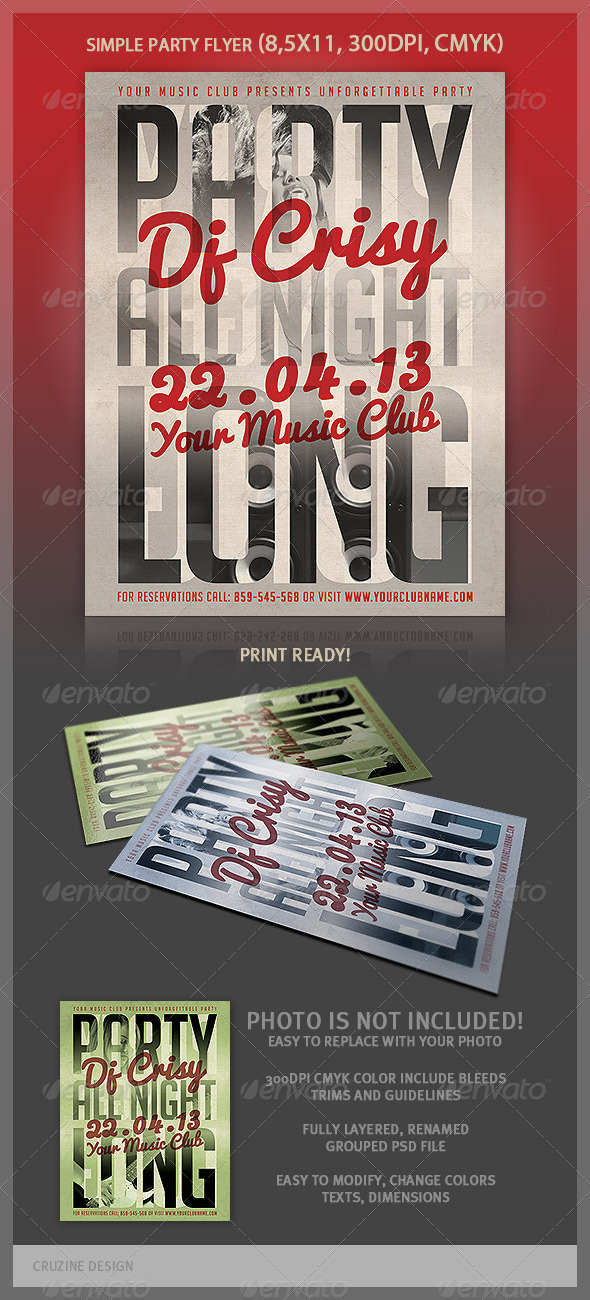 Typographic Simple Flyer Template - Clubs & Parties Events
