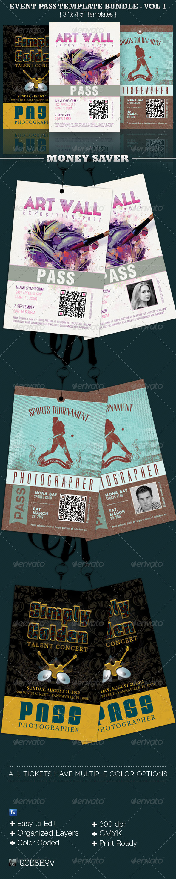 GraphicRiver Event Pass Template Bundle Volume 1 3958970