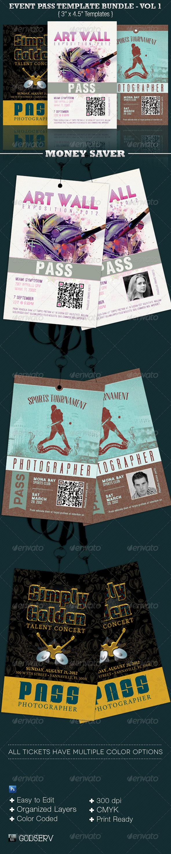GraphicRiver Event Pass Template Bundle Volume 1 3958970