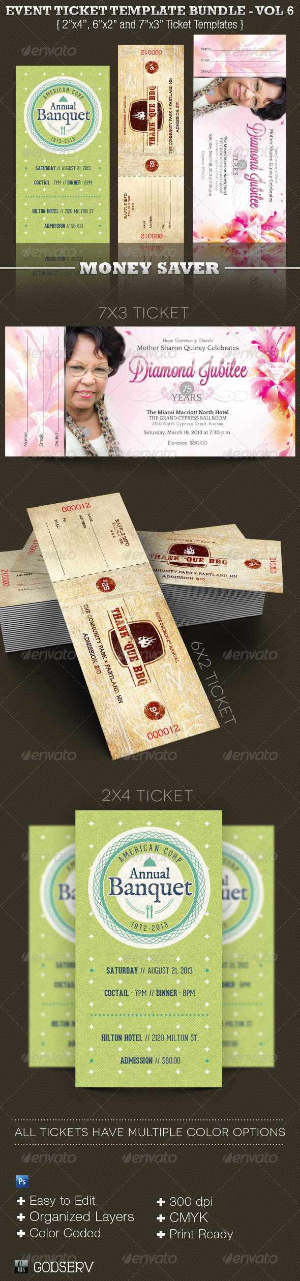 Event Ticket Template Bundle Volume 6  - Miscellaneous Print Templates