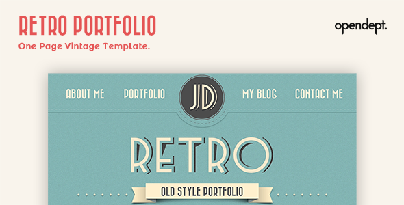 retro portfolio one page vintage template by opendept themeforest. Black Bedroom Furniture Sets. Home Design Ideas