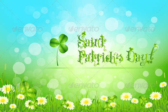 Saint Patrick's Day with Flowers and Shamrock - Seasons/Holidays Conceptual