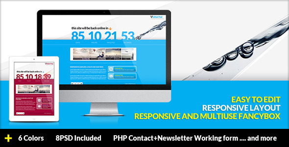 Versatile - Responsive Multi-use Coming Soon page - Under Construction Specialty Pages