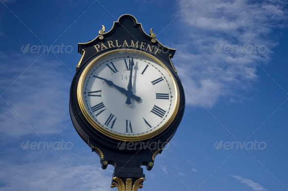 city clock Bucharest - Stock Photo - Images