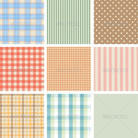 GraphicRiver Set of 9 Seamless Abstract Retro Pattern 3964385
