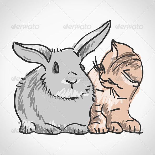 GraphicRiver Cat and Rabbit 3964387