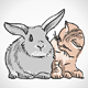 Cat and Rabbit - GraphicRiver Item for Sale