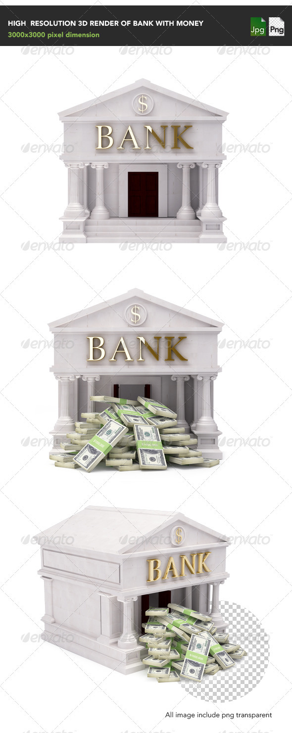 Bank with money - Architecture 3D Renders