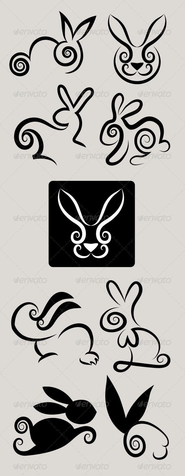 Rabbit Symbols Vector Set - Animals Characters