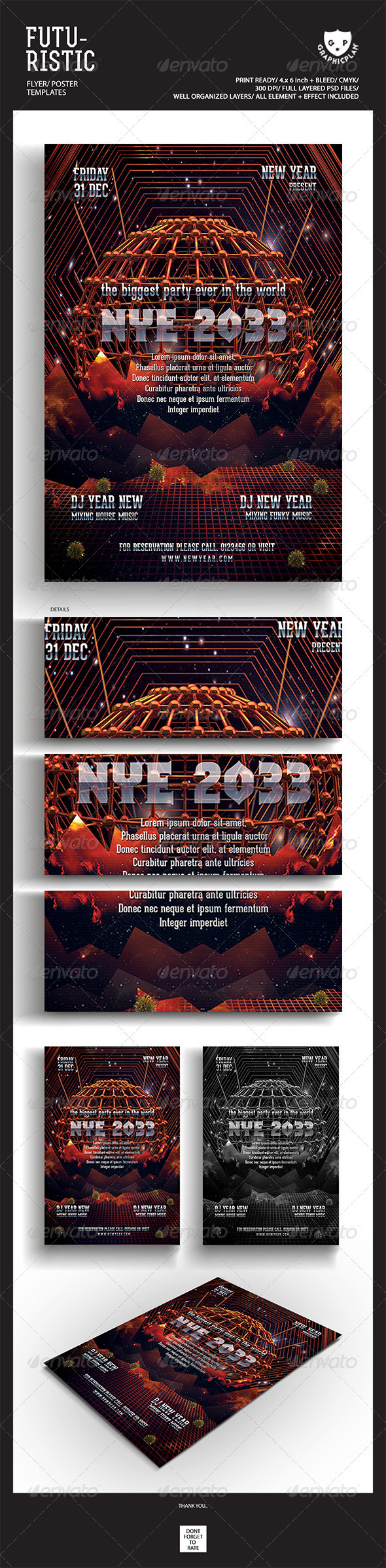 Nye 2013 Retro Futuristic Flyer Templates  - Events Flyers