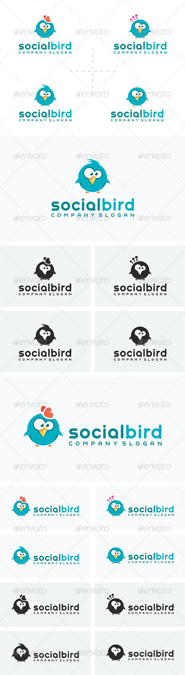4 Social Bird Logos - Animals Logo Templates