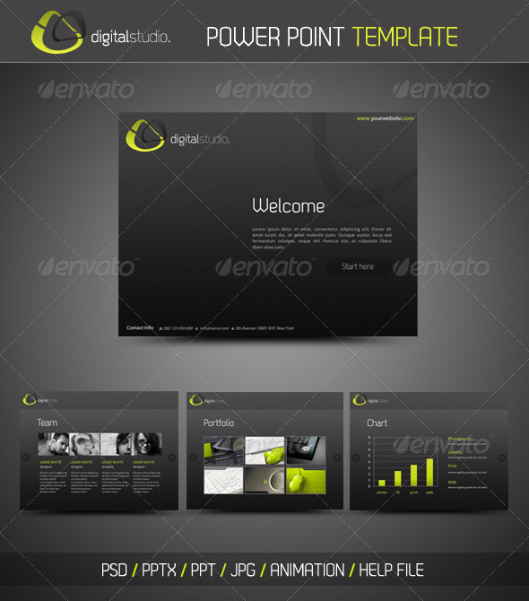 Digital Studio Black Green PowerPoint Presentation Templates