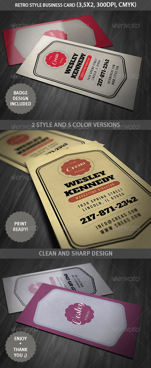 Retro Style Business Card Template - Retro/Vintage Business Cards
