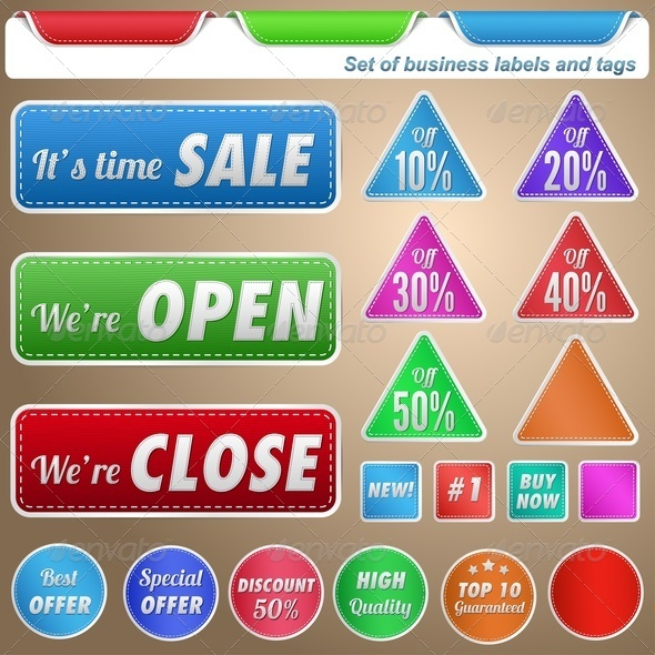GraphicRiver Set of Business Labels and Tags 3970005