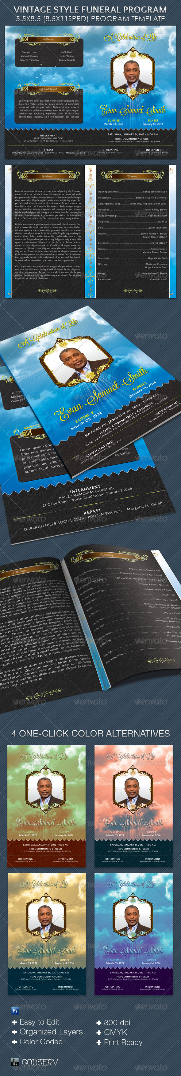 GraphicRiver Vintage Style Funeral Program Template 3883647
