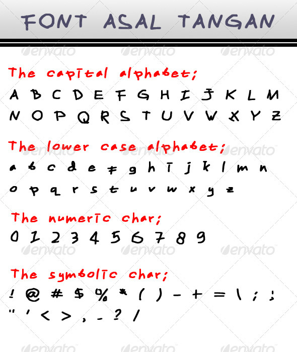 Font Asal Tangan - Hand-writing Script