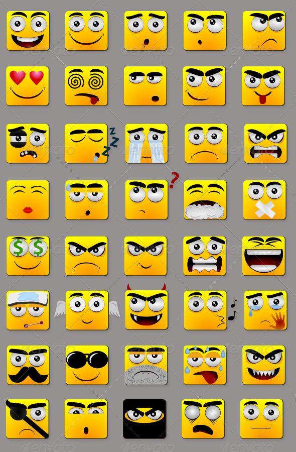 GraphicRiver Square Emoticons 3971283