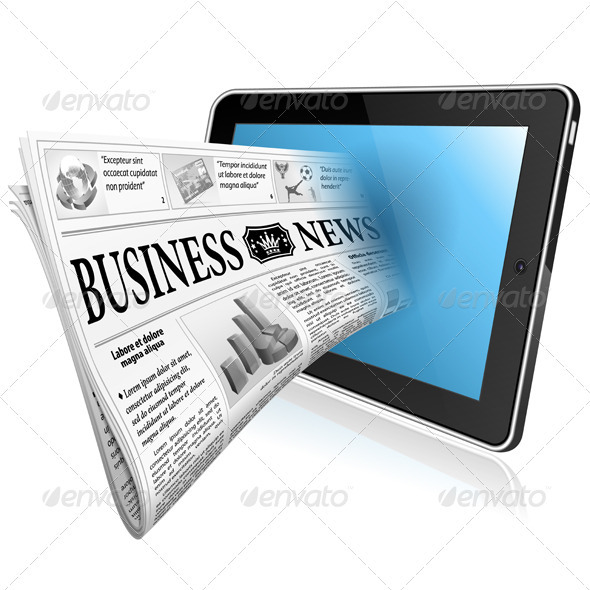 GraphicRiver Concept Digital News witn Newspaper and Tablet P 3971875