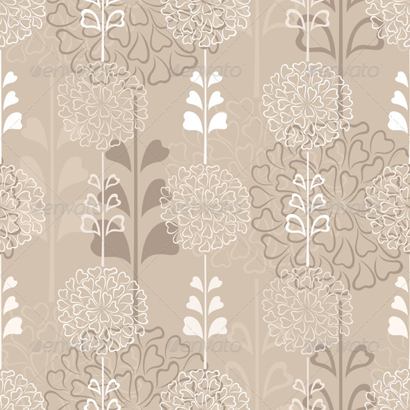 GraphicRiver Flower Decorative Seamless Background in Sepia 3909528