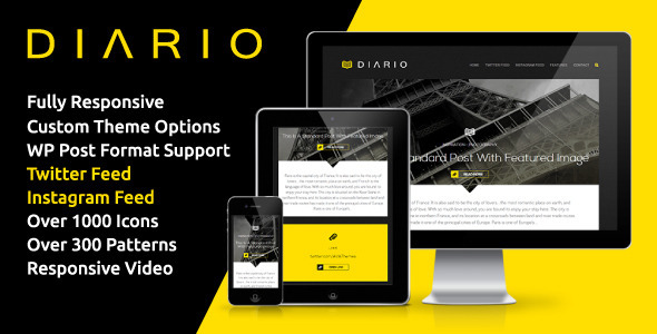 Diario - Bold &amp; Minimal Responsive WordPress Theme - Personal Blog / Magazine