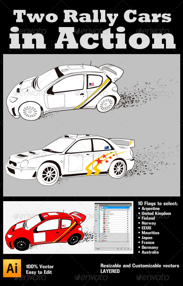 GraphicRiver Two Rally Cars in Action 3914497