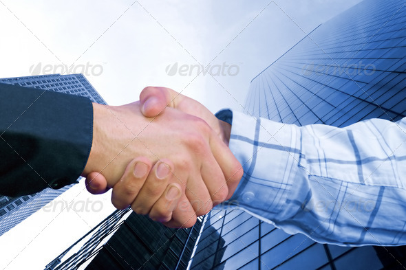 corporate deal - blue - Stock Photo - Images