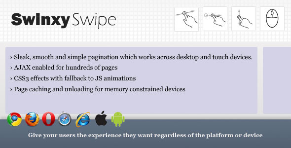 SwinxySwipe - jQuery Touch & Mouse Pagination - CodeCanyon Item for Sale